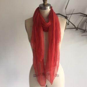 Vintage red silk scarf